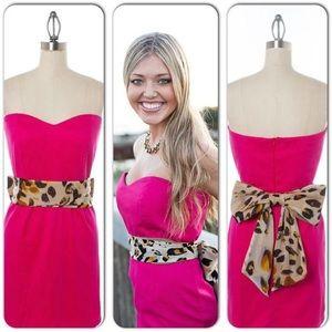 RARE Sweetheart Strapless Dress w Cheetah Bow Sash